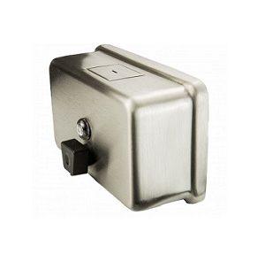 Distributeur-Réservoir de savon à mains, montage mural horizontal, en acier inoxydable