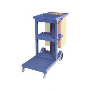 Chariot de ménage PERFORME avec sac en vinyle sans couvercle, Bleu