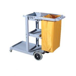 Chariot de ménage PERFORME avec sac en vinyle sans couvercle, Gris