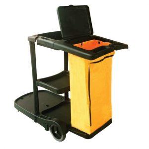 Chariot de ménage PERFORME avec sac en vinyle et couvercle, Noir.